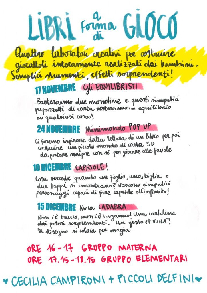 locandina LIBRI A FORMA DI GIOCO delfini 2015